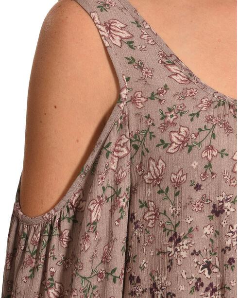 Luna Chix Women's Mauve Floral Cold Shoulder Blouse , Mauve, hi-res