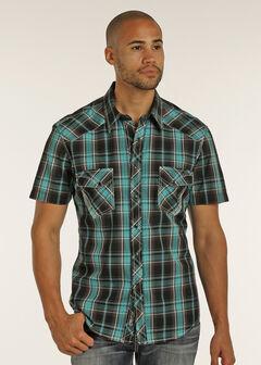Rock & Roll Cowboy Men's Black Short Sleeve Plaid Shirt , , hi-res