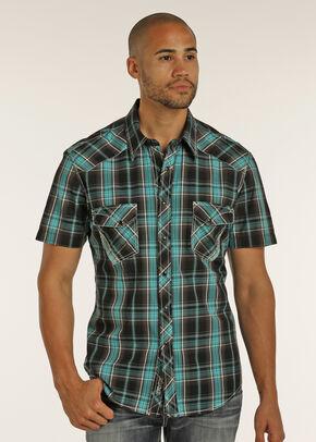 Rock & Roll Cowboy Men's Black Short Sleeve Plaid Shirt , Black, hi-res