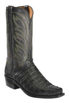Lucchese Men's Landon Caiman Tail Cowboy Boots - Narrow Square Toe, Black, hi-res