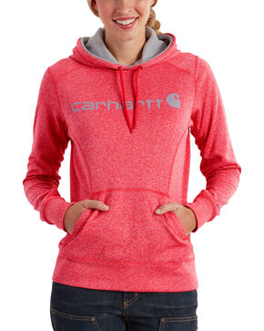 Carhartt Women's Coral Force Extremes Signature Graphic Hooded Sweatshirt , Coral, hi-res
