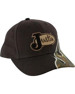 Justin Men's Embroidered Camo Flame Ball Cap, Brown, hi-res