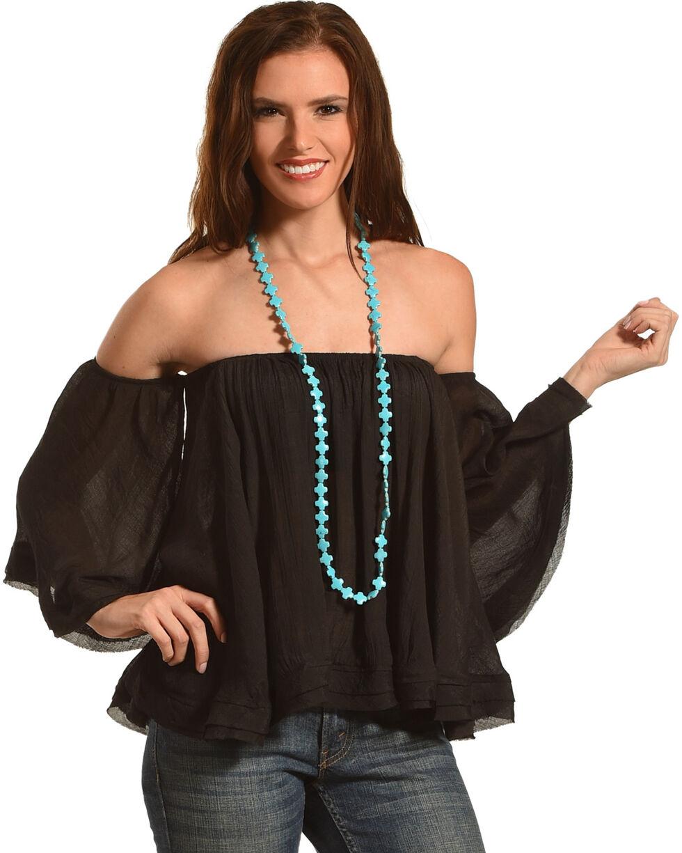 HYFVE Women's Off The Shoulder Flowing Long Sleeve Top, Black, hi-res