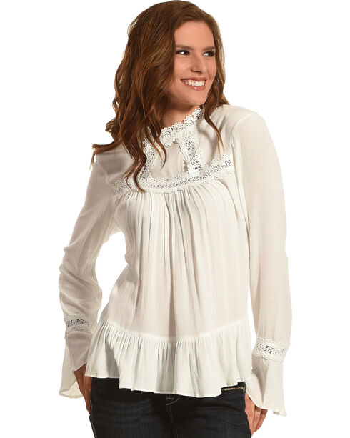 Angel Premium Women's Bette Ruffle Sleeve Top, Cream, hi-res