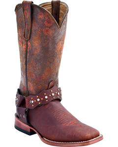 Ferrini Women's Outlaw Floral Western Boots - Square Toe, Distressed Brown, hi-res