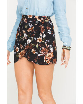 Sage the Label Women's Route 81 Floral Print Wrap Skirt, Black, hi-res