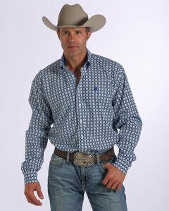 Cinch Men's Long Sleeve Plain Weave Print Shirt , White, hi-res