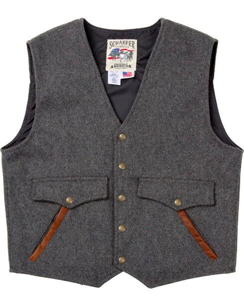 Schaefer Outfitter Men's Charcoal Stockman Melton Wool Vest - XLT, Charcoal, hi-res