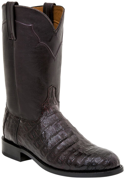 Lucchese Dustin Belly Caiman Roper Boots - Round Toe , Black Cherry, hi-res