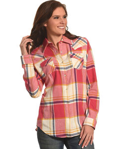 Wrangler Women's Red Flannel Plaid Shirt , Red, hi-res