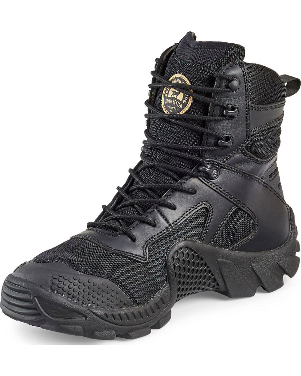 "Irish Setter by Red Wing Shoes Men's Black Vaprtrek 8"" Waterproof Boots - Soft Round Toe , Black, hi-res"