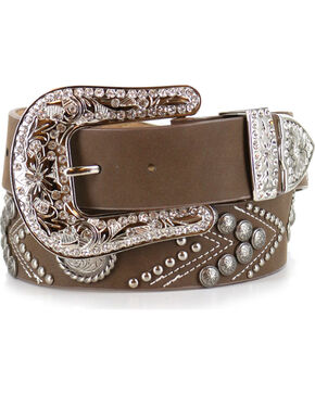 Angel Range Women's Concho Fashion Belt , Brown, hi-res