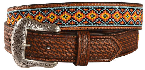 Nocona Southwest Beaded Leather Belt, Tan, hi-res