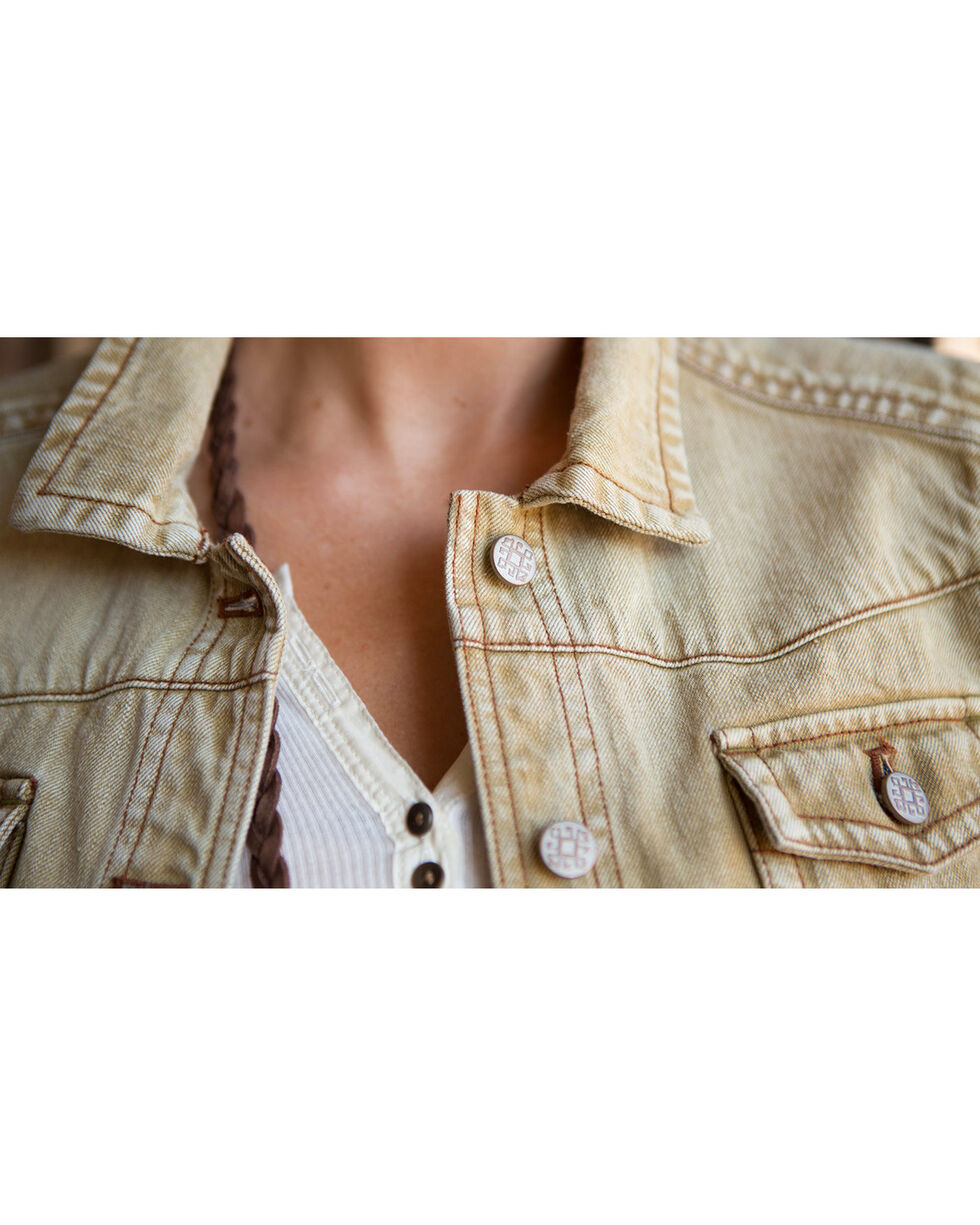 Ryan Michael Women's Tan Distressed Denim Jacket , Tan, hi-res
