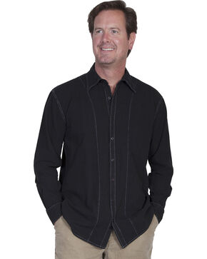 Scully Cantina Contrasting Stitch Shirt, Black, hi-res