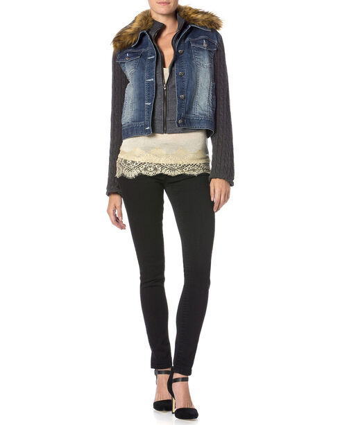 Miss Me Denim Faux Fur Collar Jacket, Denim, hi-res