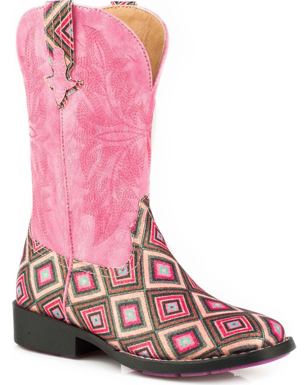 Roper Girls' Glitter Diamond Cowgirl Boots - Square Toe, Pink, hi-res