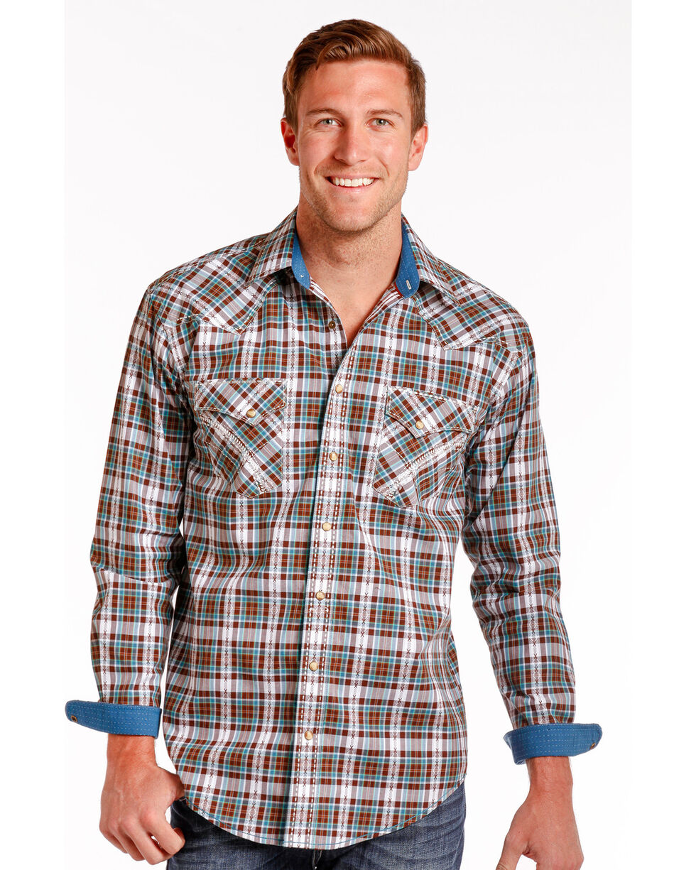 Rough Stock by Panhandle Northridge Ombre Plaid Snap Shirt, Brown, hi-res