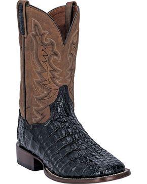 Dan Post Caiman Foot Leather Cowboy Boots - Square Toe, Black, hi-res