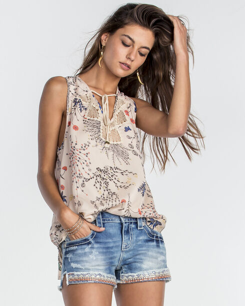 Miss Me Women's Beige Endless Love Floral Sleeveless Top , Beige/khaki, hi-res