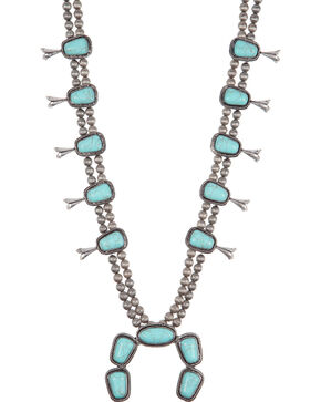 West & Co. Women's Turquoise Concho Squash Blossom Necklace, Silver, hi-res