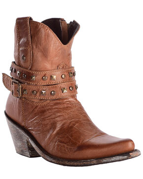 Liberty Black Women's Mad Cat Golden Studded Harness Booties - Pointed Toe , Brown, hi-res