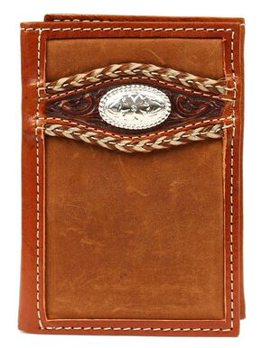 Ariat Tooled Overlay Concho Tri-fold Wallet, Med Brown, hi-res