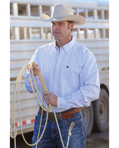 Cinch Men's Classic Fit Striped Oxford Weave Western Button Down Shirt - Big, White, hi-res