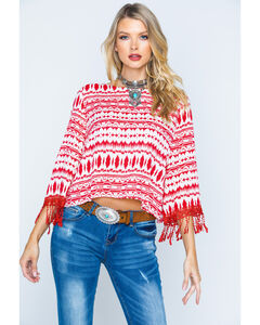 Cowgirl Up Southwestern Print Scoopneck Top, Print, hi-res