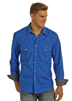 Rock & Roll Cowboy Men's Blue Paisley Print Long Sleeve Shirt , , hi-res