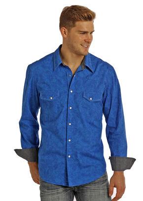 Rock & Roll Cowboy Men's Blue Paisley Print Long Sleeve Shirt , Blue, hi-res