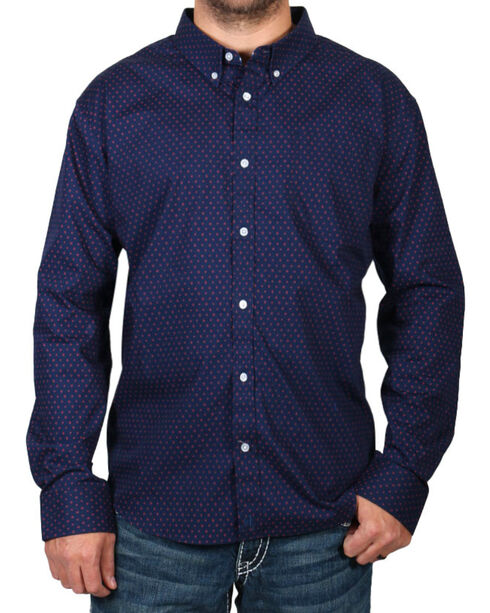 Cody James Men's Dot Patterned Long Sleeve Shirt - Big & Tall, Navy, hi-res