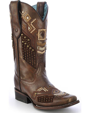Corral Women's Tribal Pattern Studded Cowgirl Boots - Square Toe, Cognac, hi-res