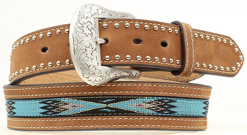 Nocona Top Hand Aztec Woven Inlay Belt, Med Brown, hi-res