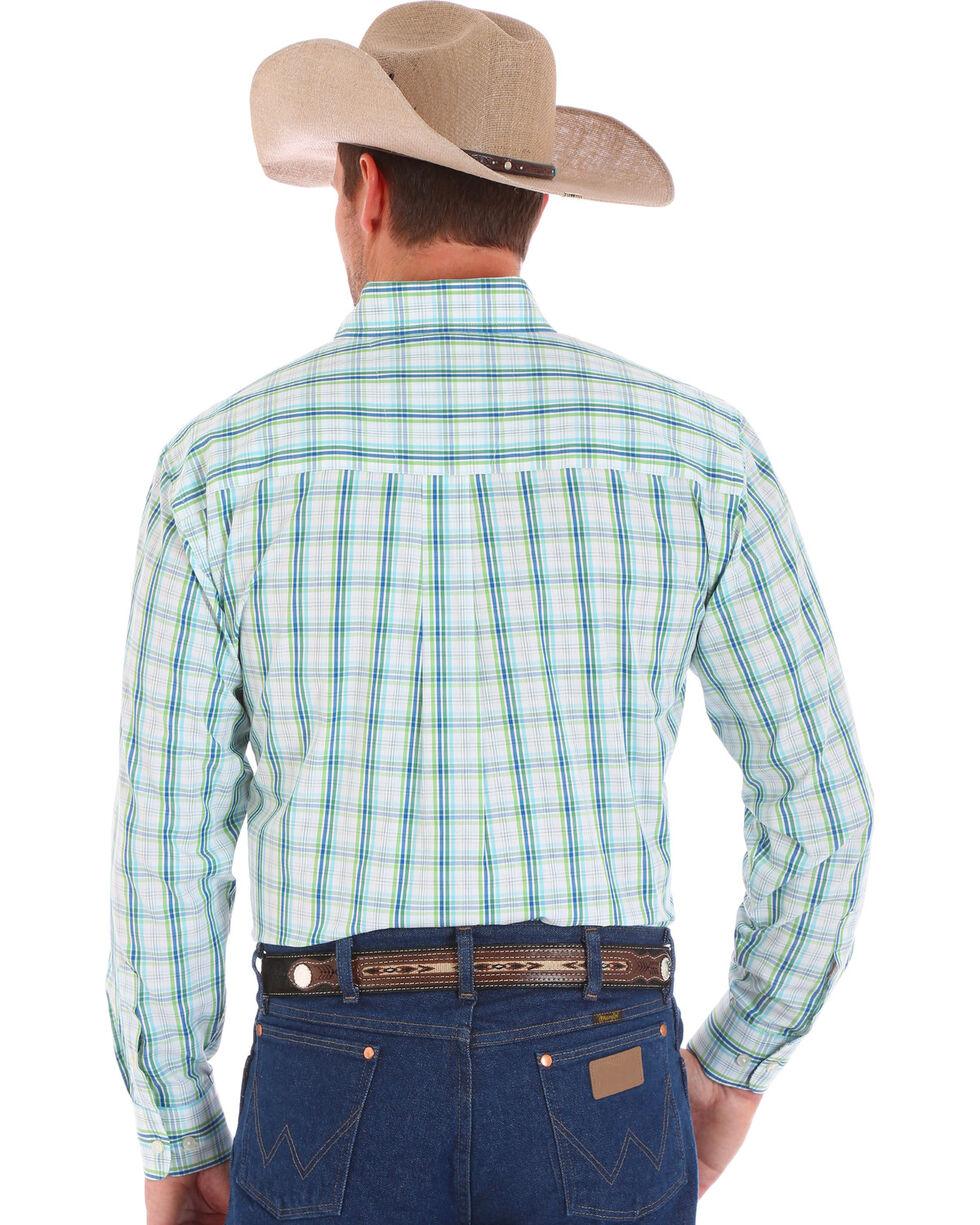 Wrangler Men's White Classics Long Sleeve Plaid Shirt , White, hi-res