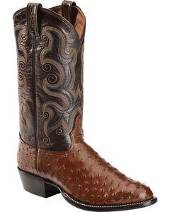 Tony Lama Full Quill Ostrich Cowboy Boots - Round Toe, , hi-res