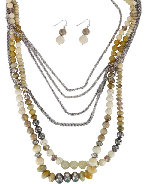 Shyanne Women's Beaded Chunky Jewelry Set, Cream, hi-res