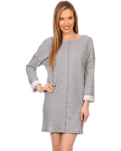 Freeway Apparel Women's Long Sleeve Sweatshirt Dress, Grey, hi-res