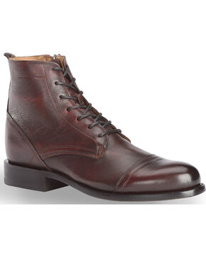 El Dorado Men's Black Cherry Leather Urban Lacer Boots - Round Toe, Black Cherry, hi-res