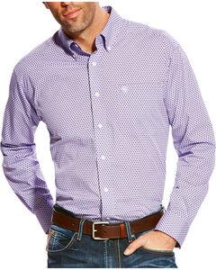 Ariat Men's Zilverton Classic Fit Wrinkle Free Print Long Sleeve Shirt, Purple, hi-res