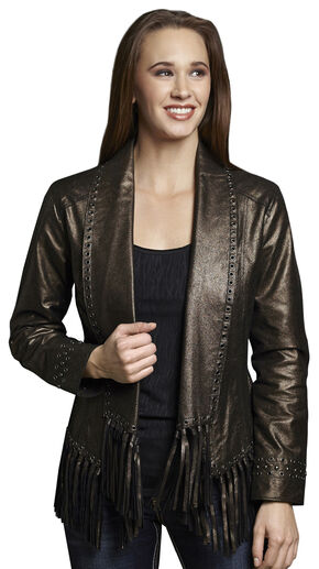 Cripple Creek Women's Metallic Leather Open Front Draped Jacket, Black, hi-res