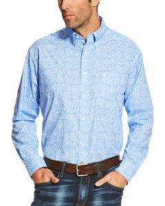 Ariat Men's Blue Orodell Print Long Sleeve Western Shirt - Big, Blue, hi-res