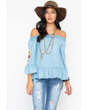 Miss Me Women's Indigo So Sprung Off The Shoulder Top , Indigo, hi-res