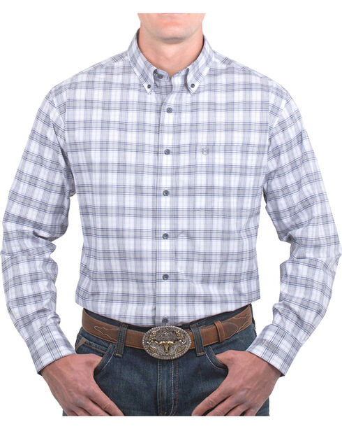 Noble Outfitters Men's Generation Fit Plaid Long Sleeve Shirt, Grey, hi-res