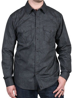 Cody James Men's Deuces Wild Striped Paisley Print Western Shirt, Black, hi-res