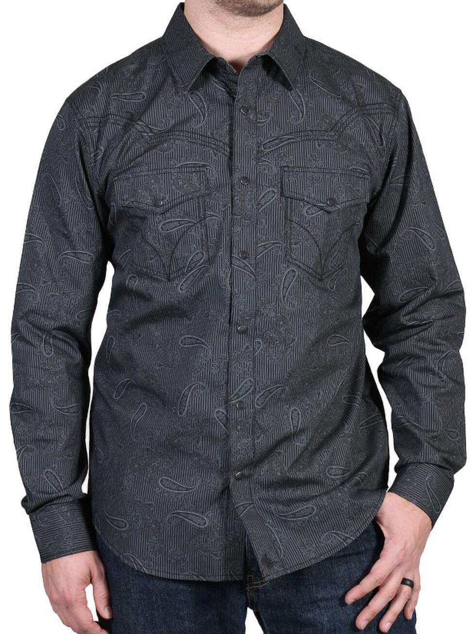 Cody James Men's Deuces Wild Striped Paisley Print Western Shirt, Black, hi-res