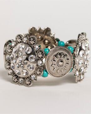Shyanne Women's Rhinestone Concho Bracelet, Silver, hi-res