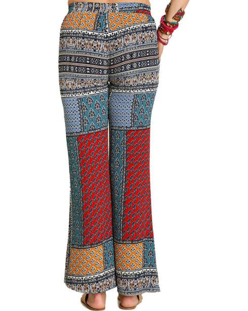 Umgee Women's Palazzo Print Pants, Navy, hi-res