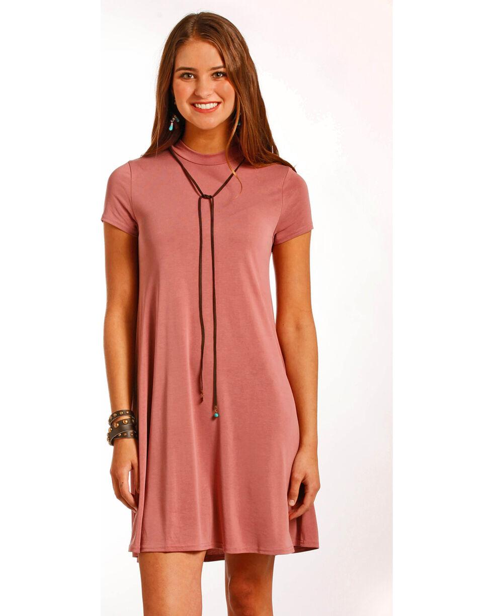 Panhandle Women's Cap Sleeve Modal Knit Flare Dress, Pink, hi-res