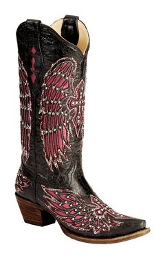 Corral Fuchsia Wing Inlay & Cross Embroidery Cowgirl Boots - Snip Toe, , hi-res